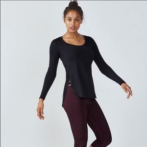 Fabletics Black Long Sleeve Side Cut Out Top